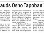H.E Indian Ambassador Jayant Prasad released Osho Tapoban Magazine, News by Republica